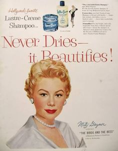 Vintage Beauty Ads | 1956 Lustre Creme Ad ~ Mitzi Gaynor, Vintage Health & Beauty Ads