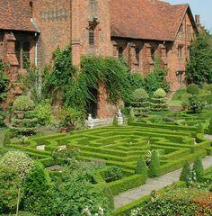English manor house with maze garden