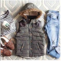 LISTING! NWT Sage Sherpa Hooded Vest NWT Sage Sherpa Hooded Vest. Dark sage tones, fully lined with a cozy sherpa lining, and faux fur trimmed hood. Quilted puffer vest outer with zipper and snap closures in gold tones. Leather-like shoulder detailing that extends across back shoulders. 100% polyester. Removable adjustable hood and soft side pockets. Fits true to size, fitted. S(0-4), M (6-8)No Trades and No PaypalSold out of Large Jackets & Coats Vests
