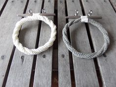 Rope Towel Ring With Stainless Steel Cleat / Choose Color Combos  Tan/White/Gray/Navy by AlaskaRugCompany on Etsy