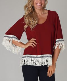 Another great find on #zulily! Burgundy & Ivory Fringe Chiffon Top by Pinkblush #zulilyfinds