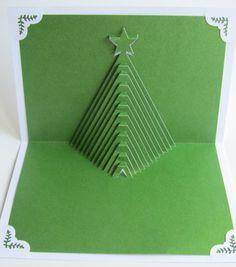 Arbre de Noël Pop-Up Home Déco 3D coupe la main à la main Origamic Architecture en blanc et vert forêt.