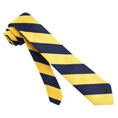 Navy Blue Microfiber Navy And Gold Stripe Skinny Tie by The American Necktie Co | Ties.com
