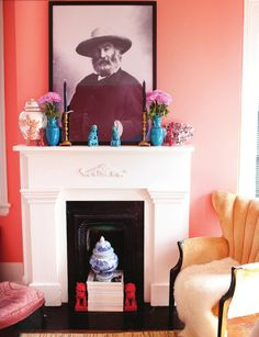 I adore the colors and mix of vintage pieces in this room.