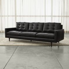 "Petrie Leather 100"" Grande Sofa Crate & Barrel"