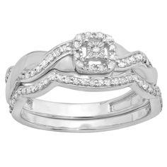 Elora Sterling Silver 1/3ct TDW Round-cut Diamond Crossover Swirl Bridal Set (I-J, I2-I3) (Size 10, Sterling Siver), Women's