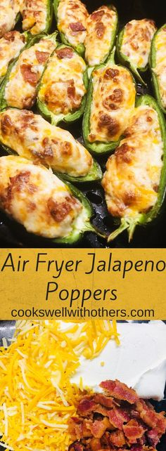 Simple and delicious Air Fryer Jalapeno Poppers are a must try! Air Fryer Jalapeno Poppers are an amazingly delicious and simple snack or appetizer, jalapenos stuffed with cheese and bacon and cooked in the air fryer! Air Fryer Oven Recipes, Air Frier Recipes, Air Fryer Dinner Recipes, Healthy Dinner Recipes, Appetizer Recipes, Cooking Recipes, Air Fryer Recipes Jalapeno Poppers, Jalapeno Poppers Healthy, Healthy Meals