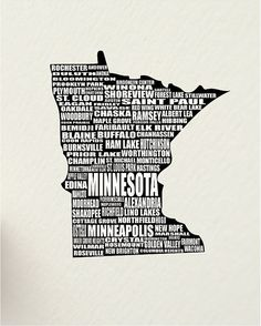 a word about MINNESOTA, SALE  St. Paul USA 11 x 14 digital print design art - custom