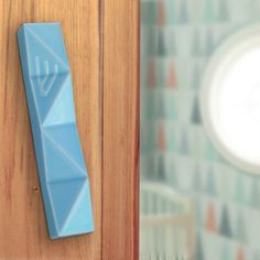 Light blue Mezuzah case for jewish kids Ceramic Jewish baby gift for newborn Modern Judaica for nursery room - Fits 7cm scroll from Israel