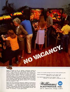 The Arcade Flyer Archive - Video Game Flyers: Opening The Door., Williams Electronics, Inc. Vintage Advertisements, Vintage Ads, Arcade Console, Computer Video Games, Retro Arcade Games, Archive Video, 1980s Kids, 8 Bits, Tecnologia