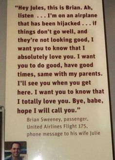 man who was on flight 175 on 9/11... sent this message to his wife