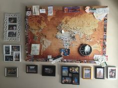 I used plywood, then glued cork squares onto it & waited for it to dry properly. I printed out a big world map & glued it onto the cork. Countries where I've been to have been pinned, memorabilia have been placed around the map together with smaller pictures. And finally, lots of random photo frames around the map to round it off :) All work done from scratch by iTashja from iTashja Events Mobile: (+27) 83 237 9231 email: itashjaevents@gmail.com