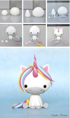 Clay unicorn but could use to make a fondant unicorn Baby Unicorn Tutorial More Baby Unicorn Tutorial - omg this is the cutest thing ever! photo tutorial - make a rainbow unicorn from fimo / polymer clay / flower paste / icing step by step guide for sitti Polymer Clay Charms, Polymer Clay Projects, Polymer Clay Creations, Diy Clay, Clay Crafts, Diy And Crafts, Sculpey Clay, Polymer Clay Figures, Simple Crafts