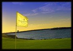 The 14th hole on the Greg Norman designed golf course on the peninsula at the Four Seasons at Emerald Bay in the lower Bahamas. A lot of golfers like to go out early in the morning. Not me; I prefer the late rounds like this one that just caught the beginning of the sunset.