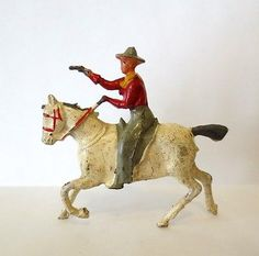 Crescent Lead Toy Soldier Figure Cowboy on White Horse Britains Johillco
