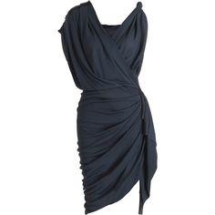 Lanvin Faux Wrap Dress ($1,859) ❤ liked on Polyvore featuring dresses, vestidos, short dresses, black dresses, women, jersey dress, rayon dress, sleeveless cocktail dress and sleeveless jersey dress