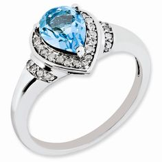 - Material: .925 Sterling Silver - Average Weight: 3g Width of Item:2 mm Band Stone Type: Swiss Blue Topaz Stone Creation Method:Natural Stone Treatment:Irradiation Stone Shape:Pear Stone Color:Blue S