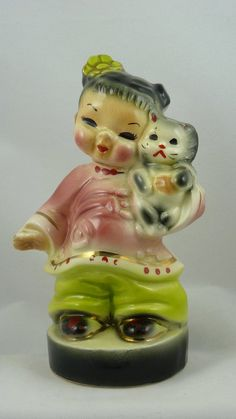 vintage josef chinese boy and girl figurines | Reserved for Emma Josef Original China Girl holding Kitten and Now I ...