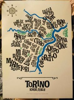 Turin Typographic Map Artwork by Gore and Steuso. Vintage Italian Posters, Building Map, Best Places In Europe, All About Italy, Map Artwork, Jazz Poster, Creative Labs, Turin Italy, Learning Italian