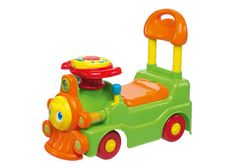 This favorite traditional train has been renewed in a brand new ride on!  The train offers a lot of fun with an electronic panel on the steering wheel with lights and sounds and some mechanical activities to play with. Featuring two modes of use to follow baby's growth:   Walker  2.  Ride on. Complete with a compartment to store baby's favorites Chicco toys.