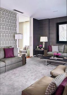 Grey Carpet Living Room Plum Rooms Decor Purple