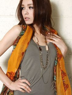 Long stone necklace / ShopStyle: Yevs 3WAYストーン×フープ3連ロングネックレス