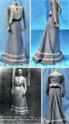 """Gray sateen two-piece wedding dress, 1901. Bodice made to resemble blouse  bolero jacket. White """"blouse"""" covered with machine lace  trimmed with black velvet ribbon. High boned neck. Sewn into gray bolero with long set-in sleeves which are trimmed with machine-made, applied white cutwork embroidery. Skirt is flared with black velvet waistband trimmed at hem with tucks  white braid. Photo shows bride  wearing dress 26 years later. Walsall Museums via Black Country History"""