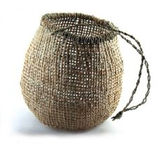 Tasmanian Aboriginal traditional twined basket, White Iris, Colleen Mundy
