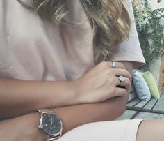 Love these silver rings and rose gold watch by www.goldentiara.gr
