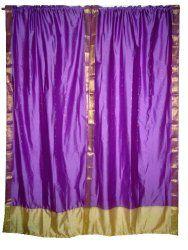 2 India Curtains Violet Gold Artsilk Sari Saree Curtains Drapes Panels Window Dressing$49.99