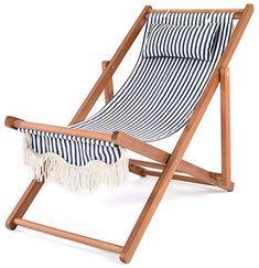 Co Business & Pleasure Llc Sling Beach Chair - Navy/White Stripe Deck Chairs, Garden Chairs, Outdoor Chairs, Outdoor Furniture, Outdoor Decor, Outdoor Spaces, Beach Themed Art, Nautical Stripes, Beach Umbrella
