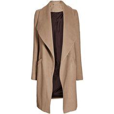 Camel Waterfall Coat (5.200 RUB) ❤ liked on Polyvore featuring outerwear, coats, jackets, coats & jackets, tops, beige coat, camel waterfall coat, waterfall coat and camel coat