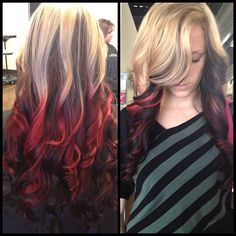 #red #brown and #blonde . #ombré with a brown red to a bright #red and highlighted the top of her hair and tipped it with the red