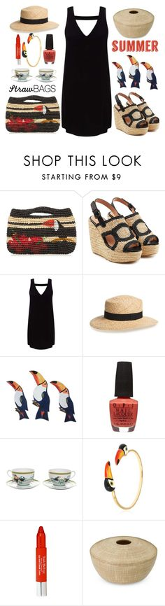 """Tucan Play that Game"" by kimzarad1 ❤ liked on Polyvore featuring Sensi Studio, Robert Clergerie, Miss Selfridge, BP., NOVICA, OPI, Nach, Trish McEvoy, Williams-Sonoma and strawbags"