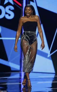 Photos: Taraji P. Henson shows some skin in a bodysuit & sheer skirt outfit to the BET Awards 2016 Karate Kid, Taraji P Henson, Black Actresses, Black Actors, Hollywood, Washington, Columbia, Ebony Beauty, Best Actress