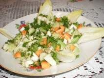 Rețetă Salata de avocado cu telina, morcovi si andive Healthy Salad Recipes, Food Art, Cobb Salad, Cantaloupe, Cheese, Vegan, Cooking, Nicu, Delicious Food