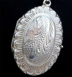 "Sterling Silver Oval Engraved Locket Estate 24"" Necklace Hallmarked 925 Vintage 