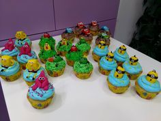 Minions, Cars, Sponge Bob and Angry Birds theme Cupcakes