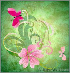 spring butterfly and pink flower on grunge green background easter idea illustration     http://www.tpt-fonts4teachers.blogspot.com/2013/01/san-valentines-day-free-clip-arts.html