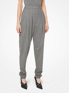Pantalón plisado de lana elástica