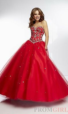 Floor Length Full Skirt Ball Gown at PromGirl.com. I think this is my favorite,  even more than the original.  It's embellished and the pointed waist is gonna make you look taller. And the corseted back is gonna be somewhat adjustable and thus fit well.