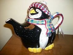 Enesco Julie Ueland Penguin Tea Pot Hand Painted New with Tag Lovely   eBay