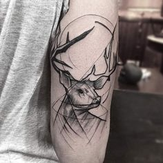 Sketch Style Stag Tattoo by Frank Carrilho