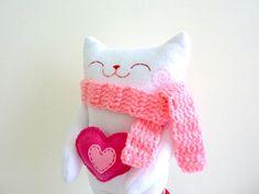 Valentine Cat Plush, Toy, Stuffed Cat, Cat Doll, Cat Plush. $28.00, via Etsy.