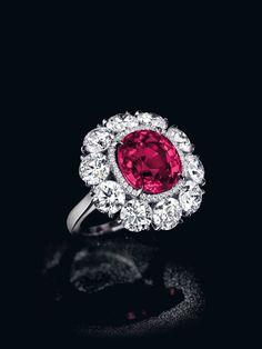 """The Pride of Burma,"" a 6.25-carat cushion shaped Burmese ruby and diamond ring (estimate: $1.8 million – $2.5 million),"
