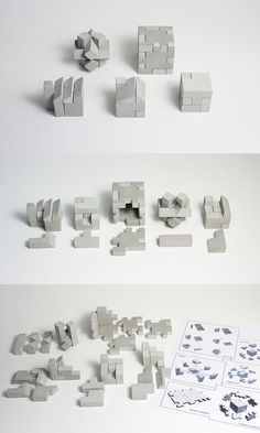 "The five concrete 3-D puzzles are all composed of six elements except the ""factory"" which has seven. Via en.DaWanda.com."
