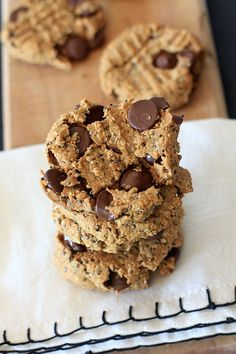 Dessert for breakfast? You betcha'! Oatmeal Peanut Butter Chia Chocolate Chip Breakfast Cookies