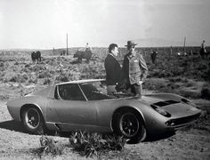 At the Miura bullfarm in Spain, Ferruccio Lamborghini presents Mr. Miura with the car named after his prized bulls. Lamborghini Miura, Bw Photography, Automotive Photography, Vintage Racing, Vintage Cars, Vintage Iron, Bmw Classic Cars, Top Cars, Exotic Cars