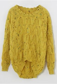 Candy Dots Knit Sweater with Scrolled Neckline in Mustard and AMAZING cables!