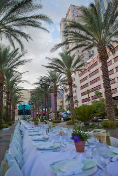 Outdoor dinner event palm tree lined street in Las Vegas